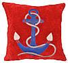 Декоративная подушка с морской вышивкой якоря