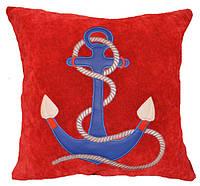 Декоративная подушка с морской вышивкой якоря, фото 1