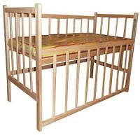 Кроватка Кф простая с опусканием (2 положения дна, опускание боковушки) 2 ольха б.л.