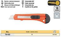 нож пистолетный Польша выдвижное лезвие 18 мм пластмасса VOREL-76180