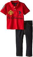 """Комплект для мальчика U.S. Polo Assn. из 2х ед. (поло с коротким рукавом и джинсы) """"Модник"""" р.5/6, фото 1"""