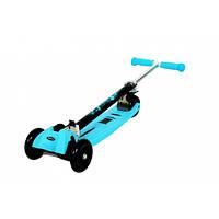 Самокат детский Trolo Maxi PLUS 5+ (sky-bluе) до 50кг, детский трехколесный самокат, система складывания