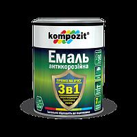 Эмаль-грунт антиикоррозионная 3в1 Kompozit серебристая на ржавчину,оцинковку  без грунтования 0,65 кг