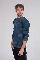 Мужской свитер с узором джинс - 3002