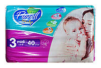 Детские подгузники Flovell Baby Midi 3 (4-9 кг) - 40 шт.