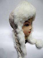 Молодежная шапка ушанка женская