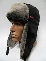 Зимняя теплая шапка ушанка мужская - серый мех
