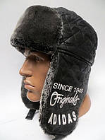Модная зимняя шапка ушанка мужская Адидас