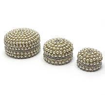 Шкатулки металические (н-р 3 шт) с жемчугом (7,5х7,5х4см 6х6х3см 5х5х3,5см)