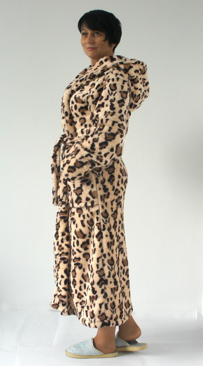 4735528b4153e Длинный женский халат с капюшоном, принт леопард: продажа, цена в ...