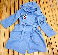 Халат детский с капюшоном голубой