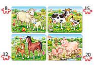 """Пазлы Castorland B-04416 """"Животные. Мамы и дети"""" 4 в 1  (B-04416), фото 2"""