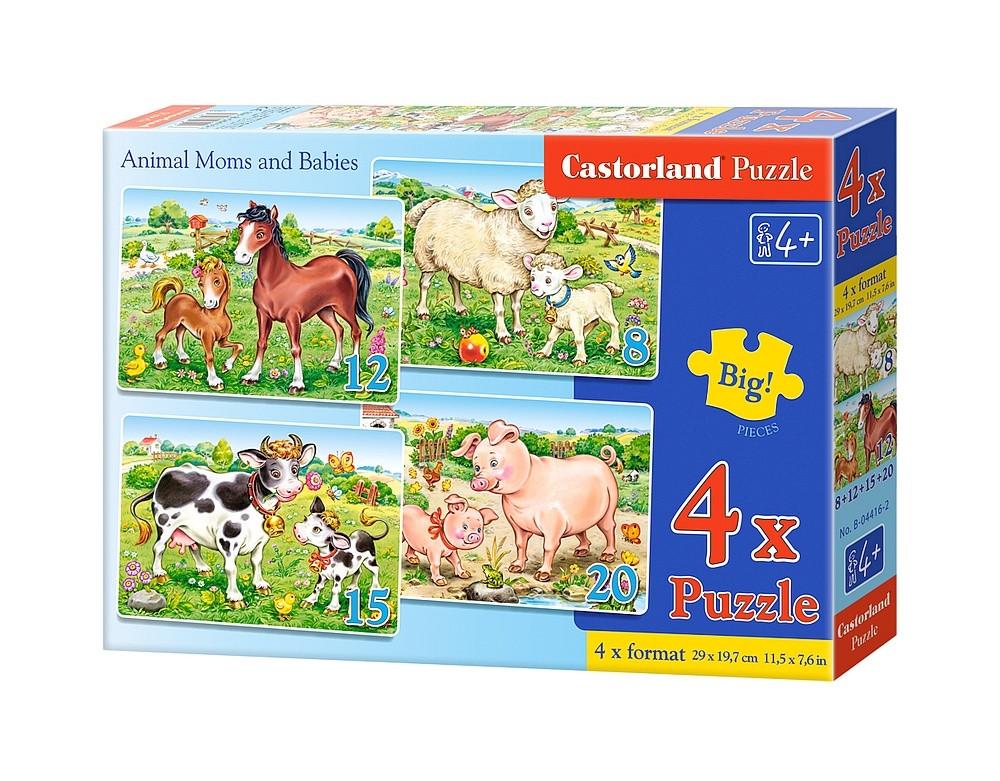 """Пазлы Castorland B-04416 """"Животные. Мамы и дети"""" 4 в 1  (B-04416)"""