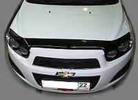 """Дефлектор капота Chevrolet Aveo 2012 и выше """"SIM"""" темный"""