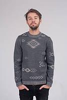 Мужской свитер с узором стальной - 3002
