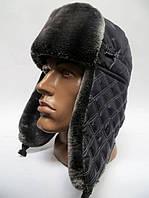 Стильная зимняя шапка ушанка мужская - серый мех