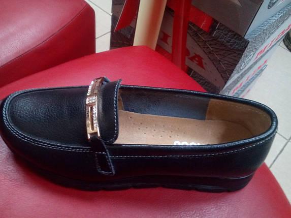 Мокасины женские allshoes на танкетке кожа  черн., фото 2