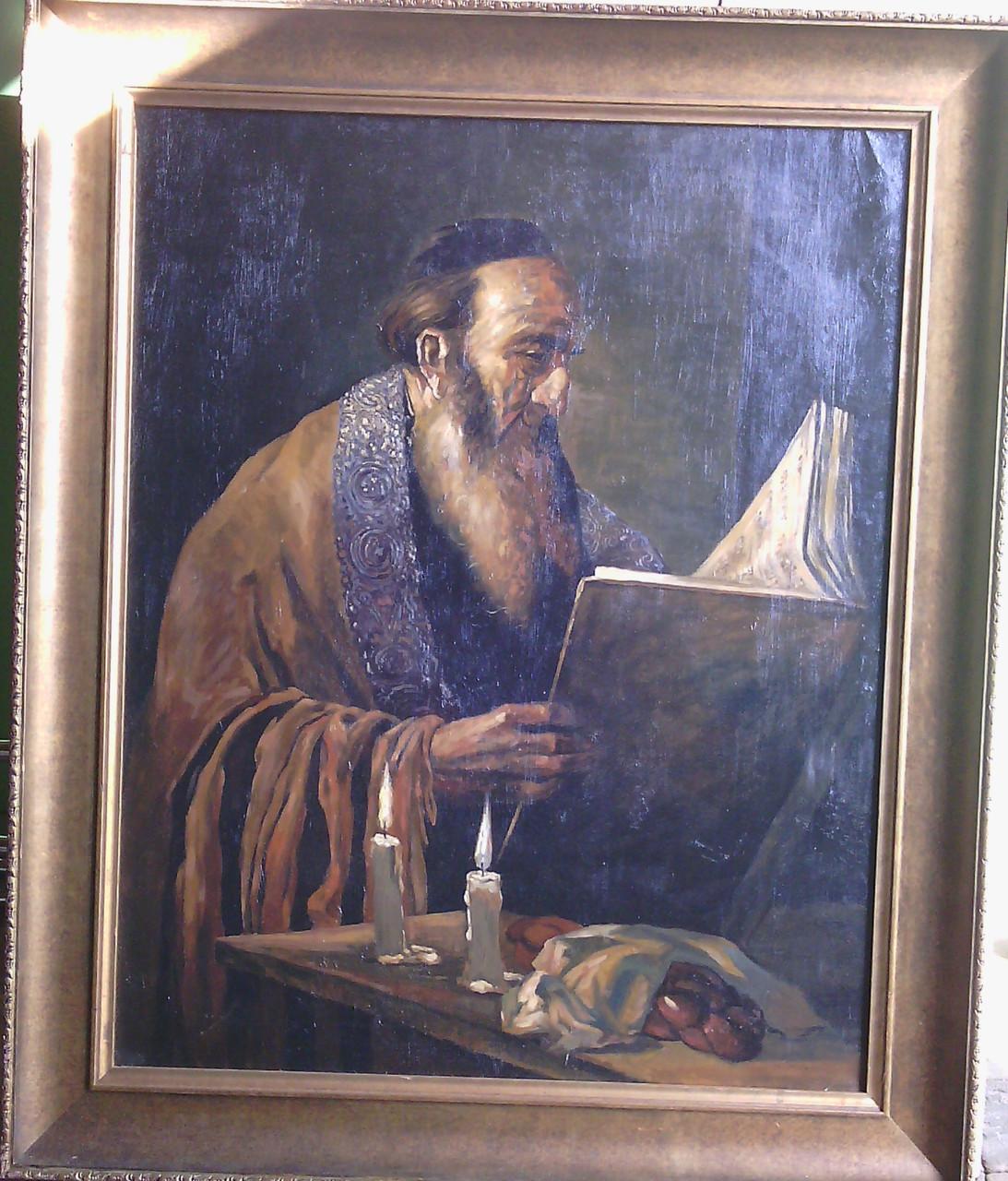 Иудаика картина Чтение Торы  M.Polarh нач.ХХ-го века