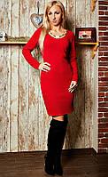 Эфектное платье насыщенного красного цвета, фото 1