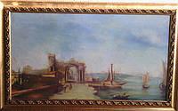 """Картина """"Причал"""" P.Sodin  XIX век"""