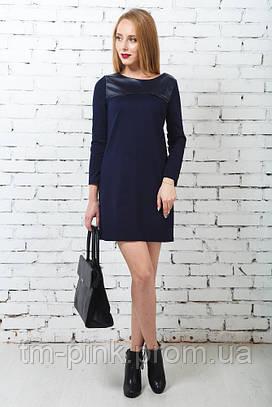 Сукня пряма шкіряна оздоба темно-синя