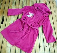 Халат детский с капюшоном розовый