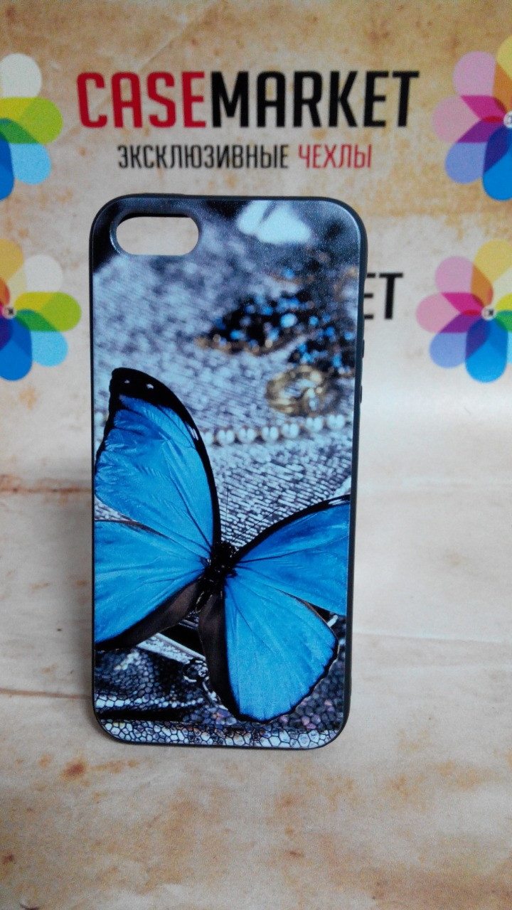 Чехол силиконовый бампер для Iphone 5/5s с рисунком Бабочка