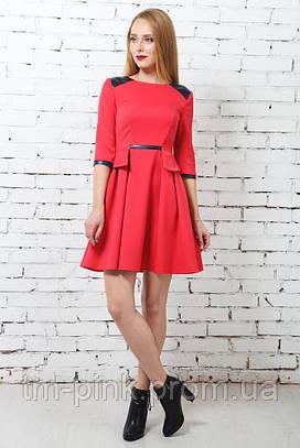 Сукня кльош з баскою червона
