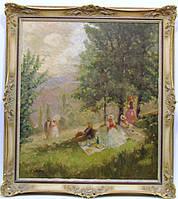 """Картина """"Завтрак на траве"""" Жан Вале, рубеж XIX-ХХ  веков"""