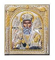 Святой Николай Чудотворц Silver Axion икона Греческая 75 мм х 85 мм
