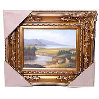 """Картина маслом 40х30 см. """"Горы над рекой"""" горизонтальная"""