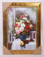 "Картина маслом 60х90/90х120 см. ""Натюрморт букет роз"" вертикальная"