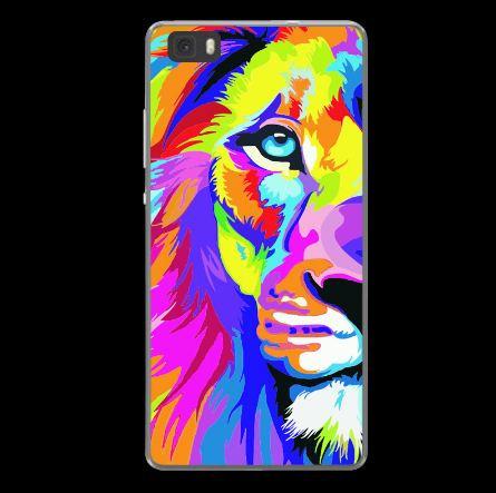 Силиконовый чехол для Huawei P8 Lite с картинкой Разноцветный лев