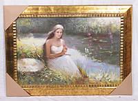 """Картина маслом 90х60 см. """"Девушка у пруда"""" горизонтальная"""