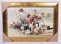 """Картина маслом 90х60/120х90 см. """"Натюрморт с вазоном ромашек"""" горизонтальная"""