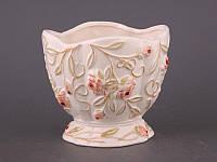 """Кашпо керамическое 15х14 см. """"Коралловые розы"""" розовый, круглый"""