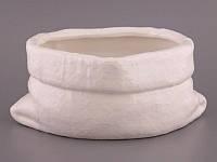 """Кашпо керамическое 28х13 см. """"Мешок"""" белый, фигурное"""