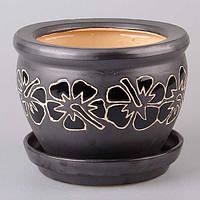 """Горшок для цветов керамический 30х22 см. """"Мальва"""" черный, круглый"""