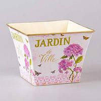"""Кашпо металлическое 19х19х15 см. """"Цветущий сад"""" розовый, квадратный"""