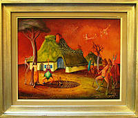 "Картина ""Жанровая сцена"" Жос ван Гервен-Хелаерс 1978 год"