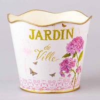 """Кашпо металлическое 19х16 см. """"Gardin"""" розовый, овальное"""