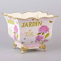 """Кашпо металлическое 19х19х16 см. """"Jardin"""" розовый, квадратный на ножках"""