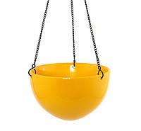"""Кашпо навесное керамическое 20 см. """"Чаша"""" желтый, круглый"""
