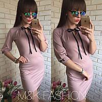 Женское платье розовое с бантом