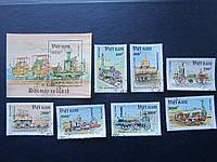 Серия Блок + 7 марок Вьетнам 1991 паровозы гашённые