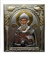 Икона Спиридона Тримифунтского серебряная с позолотой под стеклом 208 мм х 245 мм
