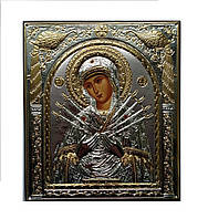 Семистрельная  Божья Матерь Silver Axion икона Греческая 75 мм х 85 мм серебряная с позолотой