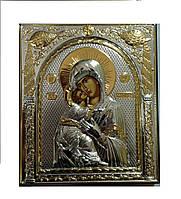 Владимирская икона Божией Матери 108 мм х 121 мм серебряная с позолотой