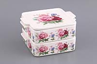"""Набор блюд 2 шт. квадратных для холодца с крышкой 18х15х10 см. """"Букет роз"""" фарфор, фиолетовый"""
