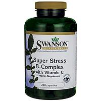 Комплекс витаминов группы В с витамином С, от стресса,  Super Stress, Swanson, 240 капсул
